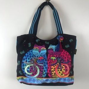 Laurel Burch Large Tote Two Cats Embellished